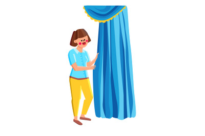 Woman Standing Near Beautiful Curtains Vector