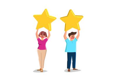 Boy And Girl Customer Reviews And Feedback Vector