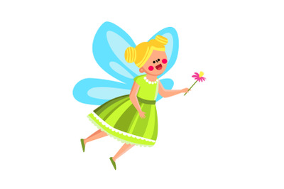 Fairy Girl In Beautiful Costume With Flower Vector