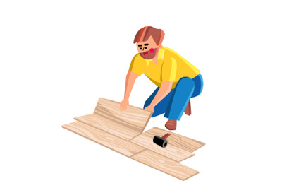 Floor Worker Lay Wooden Panel Of Laminate Vector
