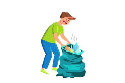 Gathering Trash Collecting Volunteer Man Vector