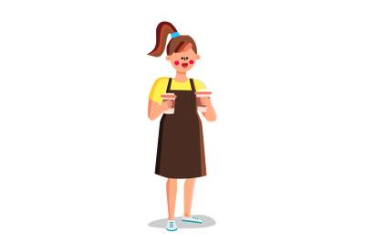Girl Barista Holding Prepared Coffee Cups Vector