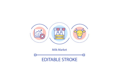Milk market concept icon