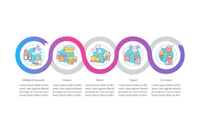 Milk products vector infographic template