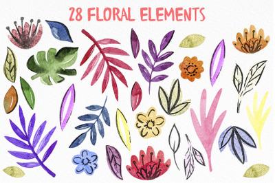 28 Watercolor digital floral files, Watercolor PNG Download, summer
