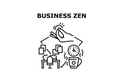 Business Zen Vector Concept Black Illustration
