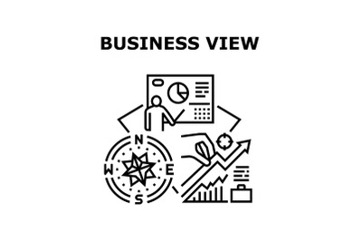 Business View Vector Concept Black Illustration