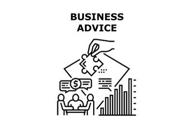 Business Advice Vector Concept Black Illustration