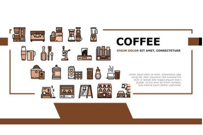 Coffee Shop Equipment Landing Header Vector