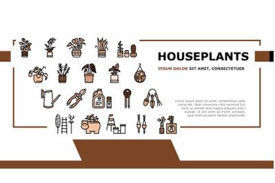 Houseplant Store Sale Landing Header Vector