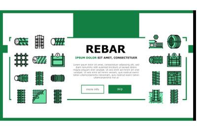 Rebar Construction Landing Header Vector