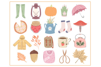 20 Autumn hand drawn items, Autumn floral, leaves, floral