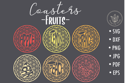 Coasters svg cut files, Fruits coasters lettering