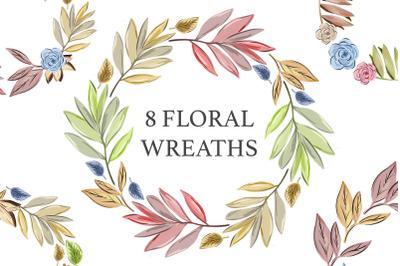 Boho Frame Watercolor Floral Wreath
