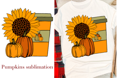 Autumn sublimation with pumpkin, sunflower and latte cup