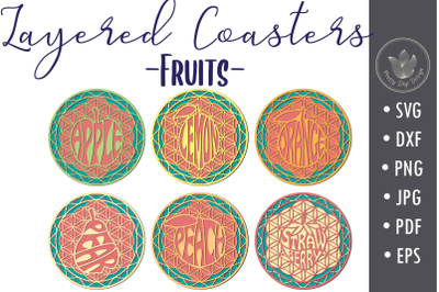Layered Coasters svg cut files, Fruits coasters lettering