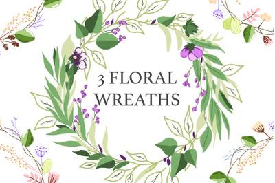 Set of 3 High Quality Digital Floral frames