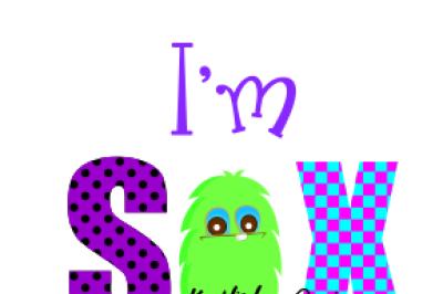 6th Birthday Svg File, Monster Birthday Svg, Dxf, Png, Eps
