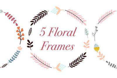 Set of 5 High Quality Digital Floral frames