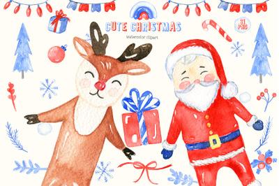 Cute Christmas. Watercolor Clipart