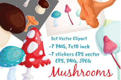 Mushrooms Vector Stickers Clipart Forest Fall Art Woodland