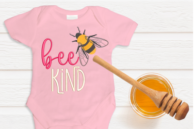 Bee Kind with Realistic Bee | Embroidery