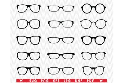 SVG Eyeglasses, Black silhouette digital clipart