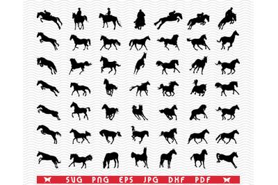SVG Horses, Black silhouette digital clipart
