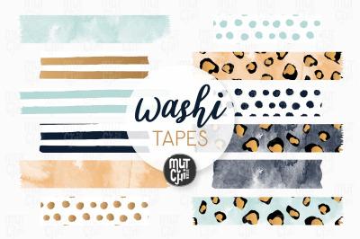 Blue Boho Animal Washi Tapes Cliparts