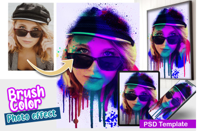 Brush Color Photo Template