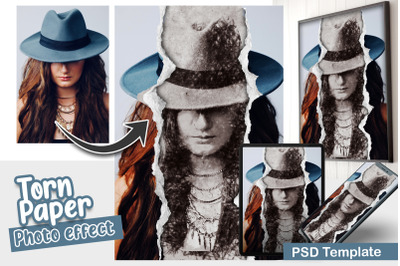 Torn Paper With Pencil Sketch Photo Template