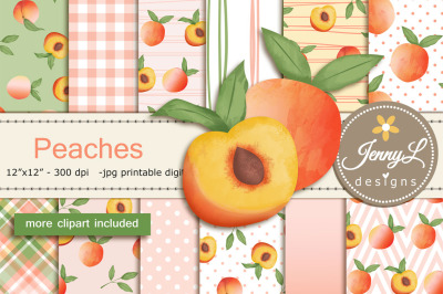 Summer Peaches Digital Papers and Clipart