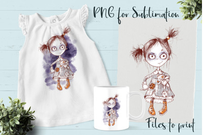 Halloween Zombie girl sublimation. Design for printing.