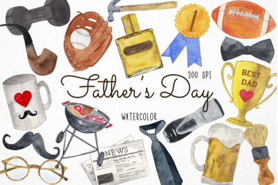 Watercolor Father's Day Clipart, Father Clipart, Dad Clipart, Daddy