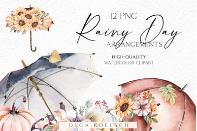 Watercolor gardening clipart, Hand-painted garden icons, autumn farmho