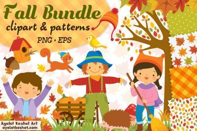 Autumn Clipart and Patterns - Cute kids and animals