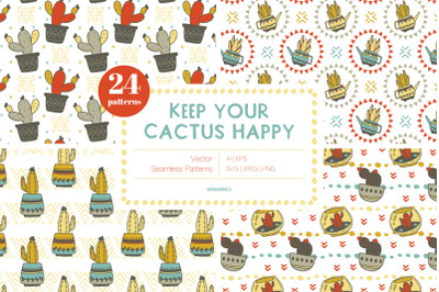 Keep Your Cactus Happy Vector Patterns