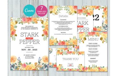 Watercolor Flower wedding invitations set