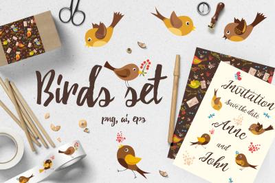 Birds set (vector,jpg,png)