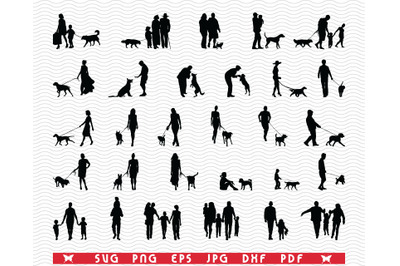 SVG, Family Dog, Black silhouettes, Digital clipart