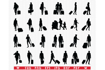 SVG, Travelers Suitcases, Black silhouettes, Digital clipart
