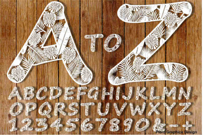 Alphabet and numbers with tropical leaves SVG and PNG files.