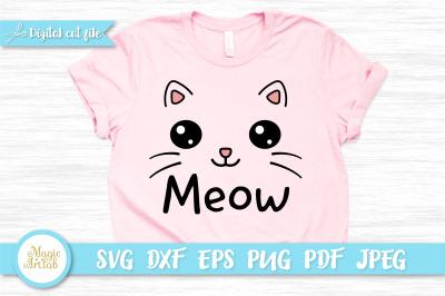 Meow cat t-shirt design, Kawaii cat SVG