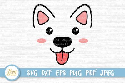 Dog face SVG, Kawai dog face cut file