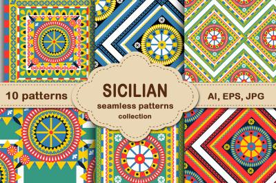 Sicilian carretto siciliano pattern set