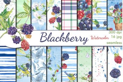 Blackberry watercolor seamless patterns