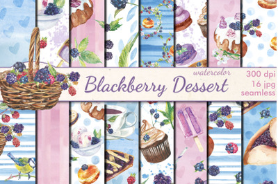 Blackberry Dessert watercolor patterns