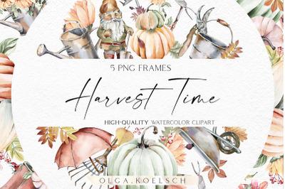 Watercolor gardening frame clipart, Fall pumpkin harvest borders png