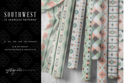 12 Seamless Southwest Patterns - Pink, Green & Gray