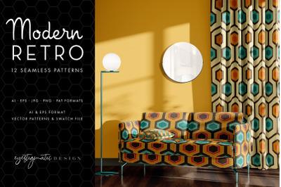 12 Seamless Modern Retro Patterns - Brown, Orange, Turquoise